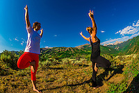 Women doing yoga, Rim Creek Trail, above Snowmass Village (Aspen), Colorado USA.