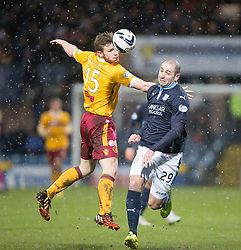 Motherwell's Mark O'Brien  and Dundee's Gary Harkins. <br /> Dundee 4 v 1 Motherwell, SPFL Premiership played 10/1/2015 at Dundee's home ground Dens Park.