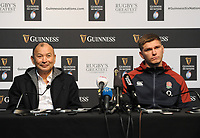 Rugby Union - 2020 Guinness Six Nations Launch Press Conference - Tobacco Dock, London<br /> <br /> England coach, Eddie Jones with Captain Owen Farrell<br /> <br /> COLORSPORT/ANDREW COWIE