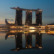 Marina Bay, singapore with distinctive architecture of Marina Bay Sands hotel