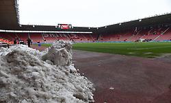Snow piled up inside St Mary's Stadium