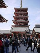 Japan, Tokyo, Asakusa, Kannon temple, 5 story pagoda