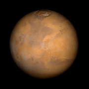 This Mars Global Surveyor Mars Orbiter Camera view of the red planet shows the region that includes Ares Vallis and the Chryse Plains upon which both Mars Pathfinder and the Viking 1 landed in 1997 and 1976, respectively.