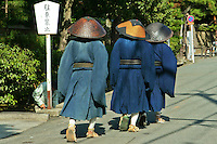 Japanese Zen Monks at Daitokuji Temple.  The schools of Zen that currently exist in Japan are the Soto, Rinzai, and Obaku. Of these, Soto is the largest and Obaku the smallest. Rinzai is itself divided into several subschools based on temple affiliation, including Myoshin-ji, Nanzen-ji, Tenryu-ji, Daitoku-ji, and Tofuku-ji.  These monks are entering Daitoku-ji Temple in Kyoto.
