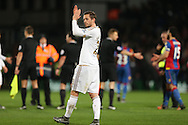 Gylfi Sigurdsson of Swansea City applauding the Swansea City away fans after the final whistle.Barclays Premier League match, Crystal Palace v Swansea city at Selhurst Park in London on Monday 28th December 2015.<br /> pic by John Patrick Fletcher, Andrew Orchard sports photography.