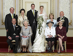 ALERNATE CROP EDITORIAL USE ONLY Wedding group of Mr Peter Phillips and Miss Autumn at Frogmore House (seated left to right front row) The Duke of Edinburgh, Queen Elizabeth II, Mrs Ivy Kelly, Mrs Edith McCarthy, (standing left to right) Capt. Mark Phillips, The Princess Royal, Mr Peter Philips, Mrs Peter Philips, Mrs Kity Kelly, Mr Brian Kelly.
