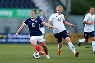 Kim Little (#8) of Scotland controls the ball as Ksenia Kubichnaya (#16) of Belarus looks to apply pressure during the FIFA Women's World Cup UEFA Qualifier match between Scotland Women and Belarus Women at Falkirk Stadium, Falkirk, Scotland on 7 June 2018. Picture by Craig Doyle.