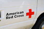 American Red Cross symbol on side of truck. Aquatennial Beach Bash Minneapolis Minnesota USA