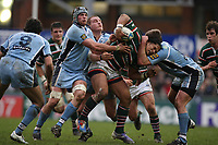 Photo: Rich Eaton.<br /> <br /> Leicester Tigers v Cardiff Blues. Heineken Cup. 13/01/2007.Alesana Tuilagi attacks for Leicester Tigers and is high tackled by Xavier Rush right