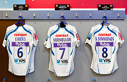 A general view of matchday jerseys in the away changing rooms - Mandatory byline: Patrick Khachfe/JMP - 07966 386802 - 29/02/2020 - RUGBY UNION - The Twickenham Stoop - London, England - Harlequins v Exeter Chiefs - Gallagher Premiership