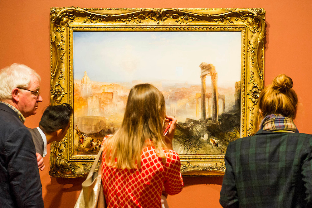 Modern Rome -The EY Exhibition: Late Turner – Painting Set Free - the first exhibition to survey Turner's final period of work (1835-51). From the age of 60 until his death. Highlights include: his 'radical' square oil paintings in recently restored frames - at the time of their creation, these works were his most controversial and were famously subjected to a hail of abuse in the press; Bamborough Castle c.1837 – an important work from a private collection which has only been displayed in public once in 125 years; Ancient Rome and Modern Rome c.1839 – brought together for the first time in a generation (pictured) ; and Turner's three final masterpieces shown in newly reconstructed frames: Mercury Sent to Admonish Aeneas, The Visit to the Tomb and The Departure of the Fleet c.1850. The show runs from 10 Sept to 25 January. Tate Britain, London, UK, 08 Sept 2014.