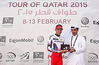 Podium, KRISTOFF Alexander (NOR) Katusha, winner, during the 14th Tour of Qatar 2015, Stage 2, Al Wakra - Al Khor Corniche (187,5Km), on February 9, 2015. Photo Tim de Waele / DPPI
