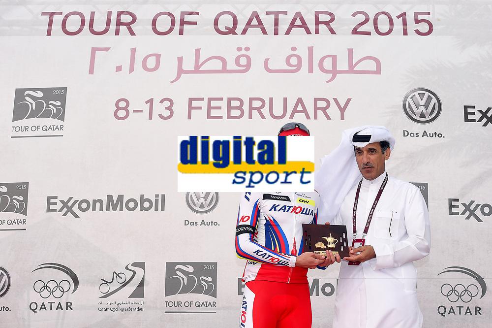 Podium, KRISTOFF Alexander (NOR) Katusha, winner, during the 14th Tour of Qatar 2015, Stage 2, Al Wakra - Al Khor Corniche (187,5Km), on February 9, 2015. Photo Tim de Waele / DPPI