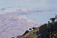 Trapani seen from the mountain town of Erice in Sicily Italy Sicily