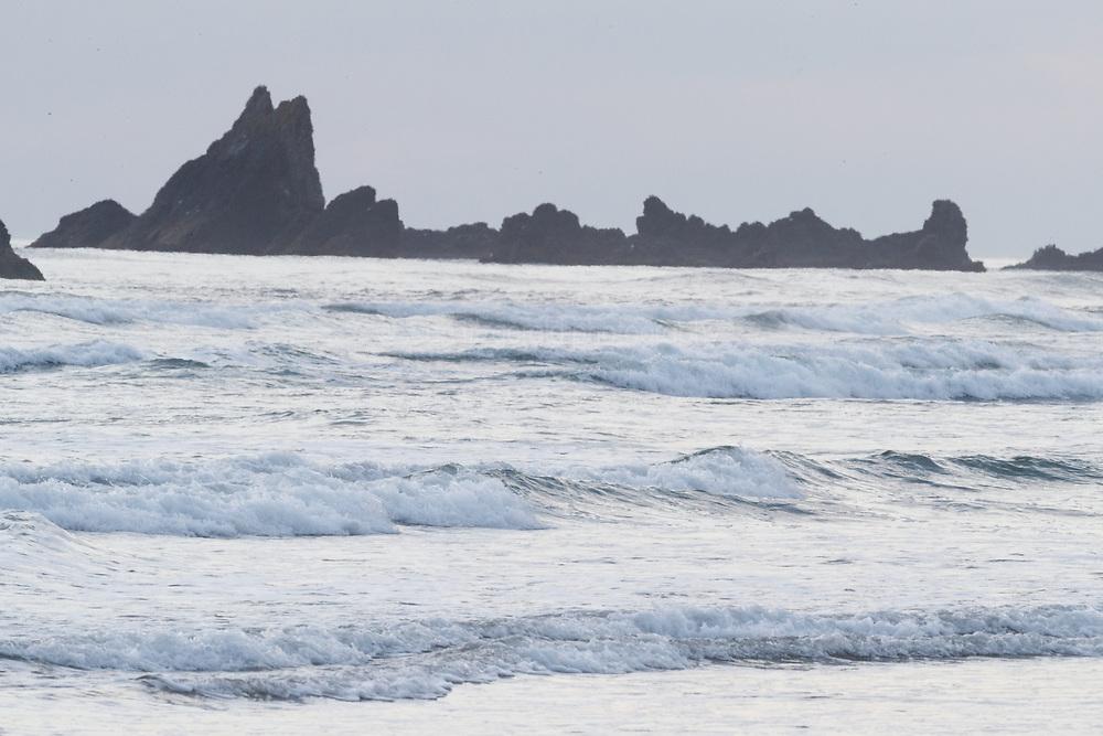 View toward Bird Rocks off Chapman Point near Ecola State Park, near town of Cannon Beach, Oregon, USA.