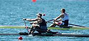 "Rio de Janeiro. BRAZIL.  left, NZL M1X, Gold Medalist, Mahe DRYSDALE,  right. CZE M1X. Ondrej SYNEK Bronze Medalist 2016 Olympic Rowing Regatta. Lagoa Stadium,<br /> Copacabana,  ""Olympic Summer Games""<br /> Rodrigo de Freitas Lagoon, Lagoa.   Saturday  13/08/2016 <br /> <br /> [Mandatory Credit; Peter SPURRIER/Intersport Images]"