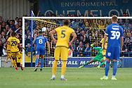 Milton Keynes Dons midfielder David Kasumu (29) missing penalty during the EFL Cup match between AFC Wimbledon and Milton Keynes Dons at the Cherry Red Records Stadium, Kingston, England on 13 August 2019.