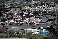 Potenza (PZ), 23-11-2010 ITALY - Il quartiere Bucaletto. Bucaletto è un quartiere popolare della periferia est di Potenza. Fu progettato all'indomani del terremoto dell'Irpinia del 23 novembre 1980, per risolvere i problemi delle famiglie sfollate a causa dei crolli di alcune abitazioni della città, difatti è caratterizzato dalla presenza di abitazioni singole, in prefabbricati..Nella Foto: Panorama del quartiere.