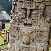 "Quirigua Maya site, Guatemala 20 May 2008<br /> Tourist in front of a ""Estela"" Maya.<br /> Photo: Ezequiel Scagnetti"