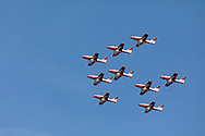 Canadian Snowbirds in the Big Arrow formation.  The Snowbirds are also known as the 431 Air Demonstration Squadron and fly the Canadair CT-114 Tutor jet. Photographed during the Canada 150 celebrations in White Rock, British Columbia, Canada.