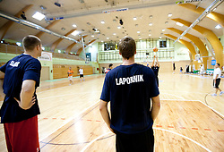 Uros Slokar and Luka Lapornik during practice session of Slovenian National Basketball team during training camp for Eurobasket Lithuania 2011, on July 12, 2011, in Arena Vitranc, Kranjska Gora, Slovenia. (Photo by Vid Ponikvar / Sportida)