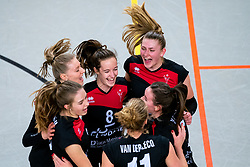 Team VCN with Elles Dambrink of VCN, Lisa Vossen of VCN celebrate during the first league match between Djopzz Regio Zwolle Volleybal - Laudame Financials VCN on February 27, 2021 in Zwolle.