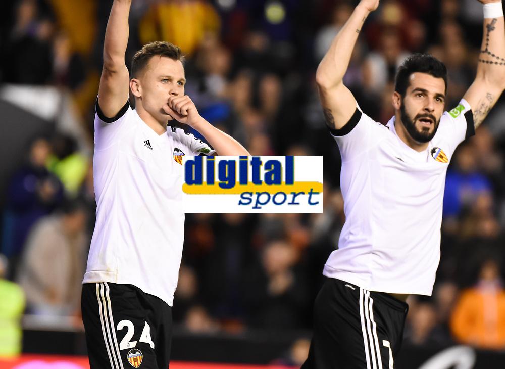 Valencia's  Cheryshev and Alvaro Negredo celebrating a goal   during La Liga match. February 13, 2016. (ALTERPHOTOS/Javier Comos)