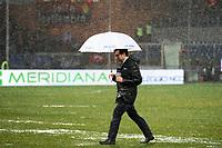 Commentatore Sky Anchorman Partita sospesa per impraticabilita' di campo . Match suspended for heavy rain <br /> Genova 21-02-2015 Stadio Marassi Football Calcio Serie A Sampdoria - Genoa . Foto Andrea Staccioli / Insidefoto