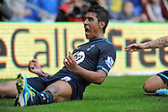Paulinho celebrates his winning goal for Tottenham Hotspur.<br /> Barclays Premier league match, Cardiff city v Tottenham Hotspur at the Cardiff city Stadium in Cardiff, South Wales on Sunday 22nd Sept 2013. pic by Phil Rees/ Andrew Orchard sports photography.