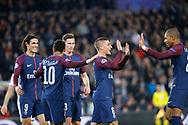 MARCO VERRATTI (PSG) scored a goal and celebrated it with Kylian Mbappe (PSG), Neymar da Silva Santos Junior - Neymar Jr (PSG), Julian Draxler (PSG), Edinson Roberto Paulo Cavani Gomez (psg) (El Matador) (El Botija) (Florestan) during the UEFA Champions League, Group B, football match between Paris Saint-Germain and RSC Anderlecht on October 31, 2017 at Parc des Princes stadium in Paris, France - Photo Stephane Allaman / ProSportsImages / DPPI