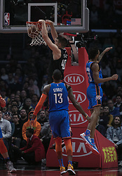 March 8, 2019 - Los Angeles, California, United States of America - Ivica Zubac #40 of the Los Angeles Clippers dunks the ball during their NBA game with the Oklahoma Thunder on Friday March 8, 2019 at the Staples Center in Los Angeles, California. Clippers defeat Thunder, 118-110.  JAVIER ROJAS/PI (Credit Image: © Prensa Internacional via ZUMA Wire)