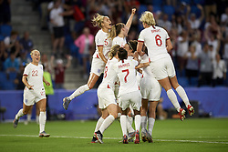 June 27, 2019 - Le Havre, France - Lucy Bronze (Olympique Lyon) of England celebrates goal with her teammates during the 2019 FIFA Women's World Cup France Quarter Final match between Norway and England at  on June 27, 2019 in Le Havre, France. (Credit Image: © Jose Breton/NurPhoto via ZUMA Press)