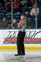 KELOWNA, BC - NOVEMBER 6: Referee Brett Iverson enters the ice at the start of the game between the Kelowna Rockets and the Victoria Royals at Prospera Place on November 6, 2019 in Kelowna, Canada. (Photo by Marissa Baecker/Shoot the Breeze)