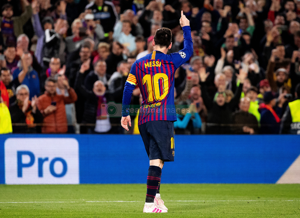 BARCELONA, May 2, 2019  FC Barcelona's Lionel Messi celebrates after scoring during the UEFA Champions League semifinal first leg soccer match between FC Barcelona and Liverpool in Barcelona, Spain, on May 1, 2019. Barcelona won 3-0. (Credit Image: © Joan Gosa/Xinhua via ZUMA Wire)