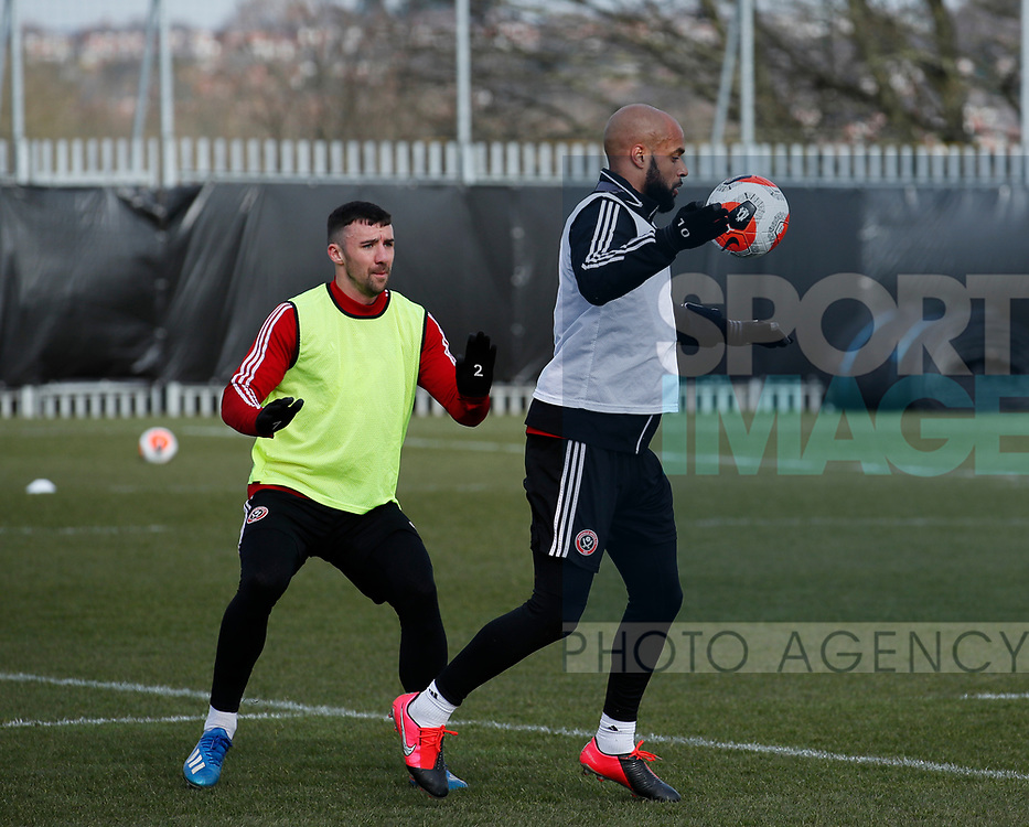 David McGoldrick of Sheffield Utd and Enda Stevens of Sheffield Utd  during a training session at the Steelphalt Academy, Sheffield. Picture date: 5th March 2020. Picture credit should read: Simon Bellis/Sportimage