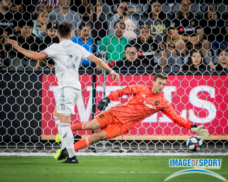 LAFC goalkeeper Tyler Miller (1) blocks a strike during an MLS soccer match against the San Jose Earthquakes. LAFC defeated the San Jose Earthquakes 4-0 on Wednesday, Aug. 21, 2019, in Los Angeles. (Ed Ruvalcaba/Image of Sport)
