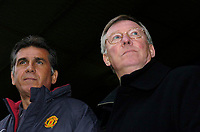 Photo. Glyn Thomas, DIGITALSPORT<br /> Norwich City v Manchester United.<br /> Barclays Premiership. 09/04/2005.<br /> Manchester United's manager Sir Alex Ferguson (R) with his assistant Carlos Quieroz