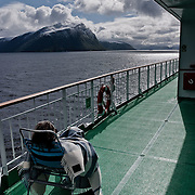 Three weeks aboard the Kong Harald. Hurtigruten, the Coastal Express. People looking the landscape from the ship.