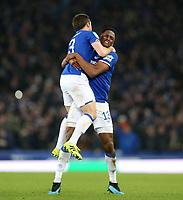Football - 2019 / 2020 EFL Carabao (League) Cup - Quarter-Final: Everton vs. Leicester City<br /> <br /> Leighton Baines of Everton celebrates his goal at Goodison Park.<br /> <br /> COLORSPORT/LYNNE CAMERON