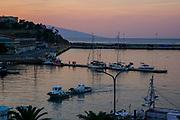 Kavala Harbor pier, East Macedonia, Greece at sunset
