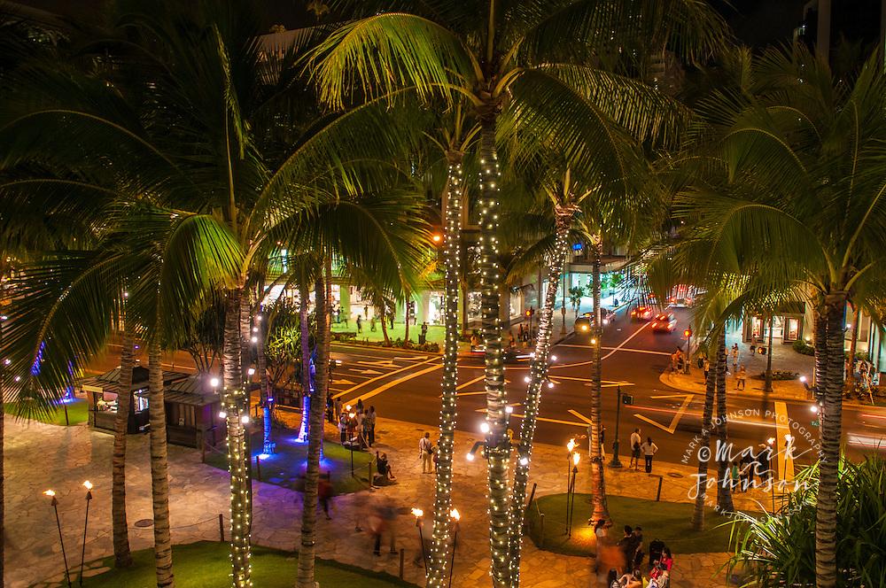 Kalakaua Ave. at night, Waikiki, Honolulu, Oahu, Hawaii