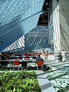 Interior foyer, Seattle Public Library, designed by Dutch architect Rem Koolhaas, finished in 2004. Address: 1000 Fourth Ave, Seattle, Washington 98164, USA.