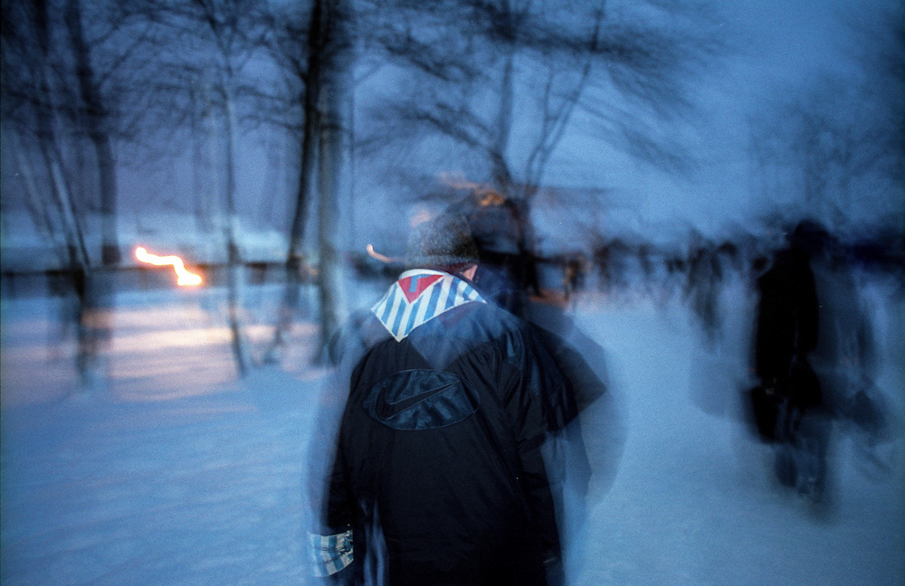 A survivor of the Auschwitz Nazi concentration camp, attending the ceremony to mark the 60th anniversary of its liberation on the 27th of January 2005.