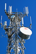 Cellular, microwave and communications antenna array for the mobile telephone system on a tower. <br />