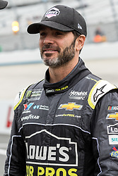 October 5, 2018 - Dover, DE, U.S. - DOVER, DE - OCTOBER 05: Jimmie Johnson driver of the #48 Lowe's for Pros Chevrolet on the grid, waiting out a rain delay for qualifying for the Monster Energy NASCAR Cup Series Gander Outdoors 400 on October 05, 2018, at Dover International Speedway in Dover, DE. Qualifying was canceled after approximately a 40 minute delay. (Photo by David Hahn/Icon Sportswire) (Credit Image: © David Hahn/Icon SMI via ZUMA Press)
