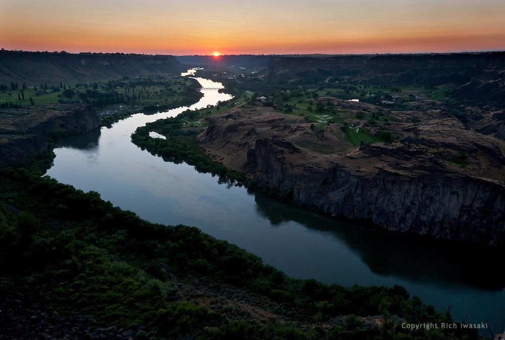 Snake river at sunset, Twin Falls, Idaho