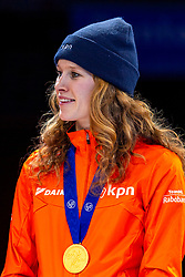 13-01-2019 NED: ISU European Short Track Championships 2019 day 3, Dordrecht<br /> Rianne de Vries pose in the Ladies Relay medal ceremony during the ISU European Short Track Speed Skating Championships