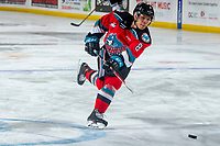 KELOWNA, BC - MARCH 11: Trevor Wong #8 of the Kelowna Rockets takes a shot during warm ups against the Victoria Royals at Prospera Place on March 11, 2020 in Kelowna, Canada. (Photo by Marissa Baecker/Shoot the Breeze)