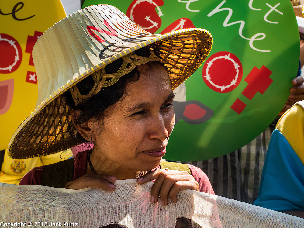 09 DECEMBER 2015 - BANGKOK, THAILAND: A woman with a traditional Thai style straw hat participates in a rally against GMO crops. About 50 environmental activists met near Government House in Bangkok to protest against the Biological Safety Bill being debated in the Thai legislature. The bill will allow use of genetically modified organisms (GMOs) for commercial purposes. Political gatherings of more than five people are prohibited by the military government and the protestors were not allowed to march to Government House or directly confront legislators.     PHOTO BY JACK KURTZ
