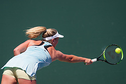 March 23, 2018 - Key Biscayne, FL, U.S. - KEY BISCAYNE, FL - MARCH 23: CoCo Vanderweghe (USA) in action on Day 5 of the Miami Open at Crandon Park Tennis Center on March 23, 2018, in Key Biscayne, FL. (Photo by Aaron Gilbert/Icon Sportswire) (Credit Image: © Aaron Gilbert/Icon SMI via ZUMA Press)